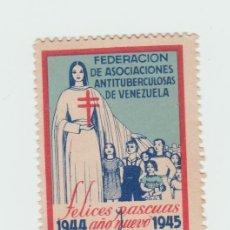 Sellos: VENEZUELA FEDERACION DE ASOCIACIONES CONTRA LA TUBERCULOSIS 1945 FELICES PASCUAS . Lote 95715947