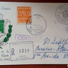 Sellos: SOBRE CON SELLOS DE VENEZUELA. 1A. EMISIÓN 1962 CON 2 SELLOS Y 1 ESTÁ RESELLADO. Lote 96611474