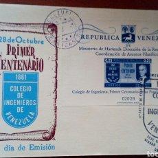 Sellos: SOBRE CON SELLOS DE VENEZUELA. 1A. EMISIÓN 1961. CENTENARIO COEGIO DE INGENIEROS. Lote 96762530