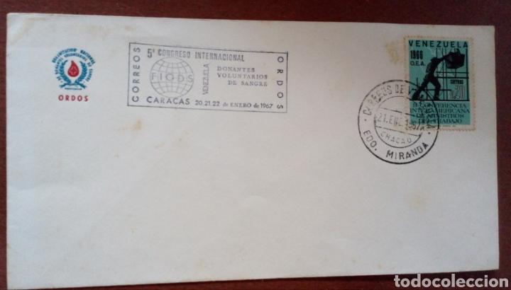 SOBRE CON SELLOS DE VENEZUELA. 1967. CONGRESO INTERN. DONANTES VOLUNTARIOS DE SANGRE (Sellos - Extranjero - América - Venezuela)