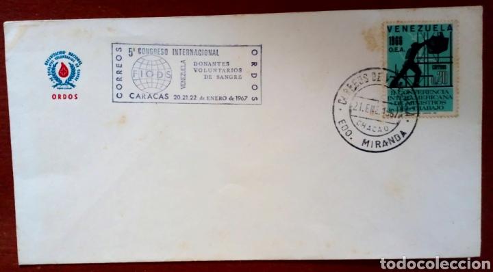 Sellos: SOBRE CON SELLOS DE VENEZUELA. 1967. CONGRESO INTERN. DONANTES VOLUNTARIOS DE SANGRE - Foto 3 - 96762826