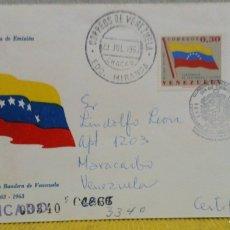Sellos: SOBRE CON SELLO DE VENEZUELA 1963 CENTENARIO DE LA BANDERA Y EL ESCUDO DE VENEZUELA. Lote 103332711