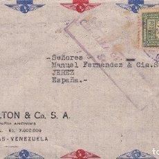 Sellos: CARTA DE CARACAS A JEREZ, FRANQUEO 178 Y CENSURA GUBERNATIVA DE SEVILLA. Lote 111013399