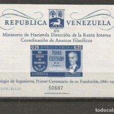 Sellos: VENEZUELA HOJA BLOQUE YVERT NUM. 4 ** NUEVA SIN FIJASELLOS. Lote 111874575