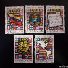 Sellos: VENEZUELA. YVERT 841/5. SERIE COMPLETA NUEVA SIN CHARNELA. BANDERAS. Lote 118413500
