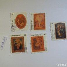 Sellos: 5 SELLOS - VENEZUELA 1990, NAVIDAD, PINTURA, ICONOS, RELIGIÓN, USADO (*). Lote 133488390
