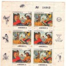 Sellos: VENEZUELA, 1540/41. UPAEP´91. DESCUBRIDORES. (4 SERIES, MANCHAS AMARILLAS). Lote 133552602