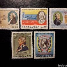 Sellos: VENEZUELA. YVERT A-942/6 SERIE COMPLETA NUEVA SIN CHARNELA. MARISCAL FRANCISCO DE MIRANDA.. Lote 153253210