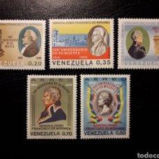 Sellos: VENEZUELA. YVERT A-942/6 SERIE COMPLETA NUEVA SIN CHARNELA. MARISCAL FRANCISCO DE MIRANDA.. Lote 153253556