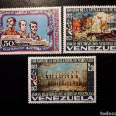 Selos: VENEZUELA. YVERT 881/3 SERIE COMPLETA NUEVA SIN CHARNELA. BATALLA NAVAL DE MARACAIBO. BARCOS.. Lote 153417225