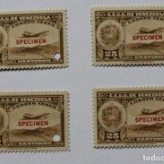 Sellos: CUATRO SELLOS ESTADOS UNIDOS VENEZUELA:1939; SCOTT C109, SPECIMEN-25CMS-TALADRO-GOMA-PRUEBA-RARÍSIMO. Lote 154969214