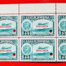 Sellos: HOJA 10 SELLOS EE. UU.VENEZUELA+DOS MÁRGENES-1939;SCOTT C109,SPECIMEN-45CM-1 TALADRO-CON GOMA-F10682. Lote 154971266