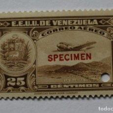Sellos: DOS SELLOS E.E. U.U. VENEZUELA-1939;SCOTT C109,SPECIMEN-45CMS-UN TALADRO-CON GOMA-PERFECTO. Lote 154972066