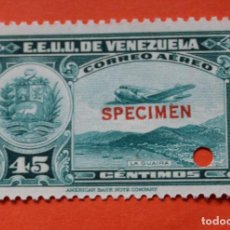 Sellos: TRES SELLOS E.E. U.U. VENEZUELA-1939;SCOTT C109,SPECIMEN-45CMS-UN TALADRO-CON GOMA-PERFECTO . Lote 154973458
