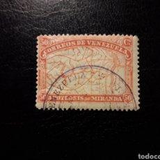 Sellos: VENEZUELA. YVERT 57 SELLO SUELTO USADO. 80 ANIV MUERTE GENERAL MIRANDA. MAPA CUENCA DEL ORINOCO.. Lote 156783336