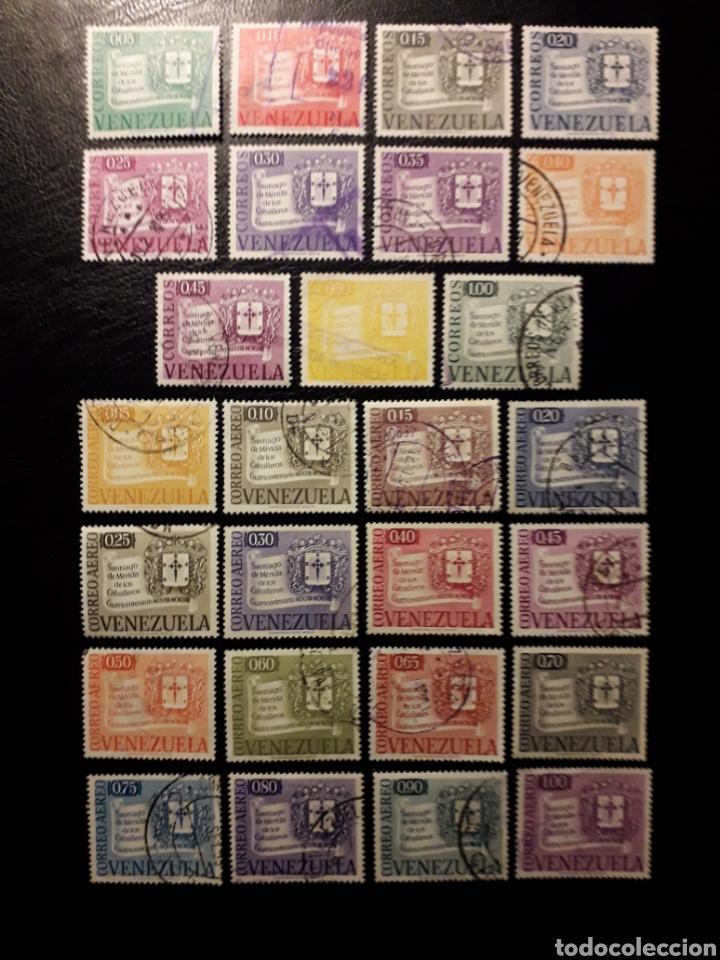 VENEZUELA. YVERT 565/75 + A-645/60 SERIE COMPLETA USADA. SANTIAGO DE LOS CABALLEROS. ESCUDOS. (Sellos - Extranjero - América - Venezuela)