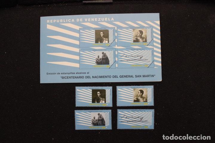 SERIE 4 SELLOS NUEVOS DE VENEZUELA AÑO 1979 BICENTENARIO DEL NACIMIENTO DE SAN MARTÍN (Sellos - Extranjero - América - Venezuela)