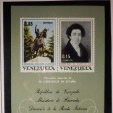 Sellos: HOJITA - VENEZUELA - DIFERENTES ASPECTOS DEL LIBERTADOR SIMON BOLIVAR - IVERT 794 Y 795 - 1969. Lote 165136270