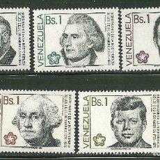 Sellos: VENEZUELA 1976 IVERT 993/97 *** 2º CENTENARIO DE LA INDEPENDENCIA DE ESTADOS UNIDOS - PRESIDENTES. Lote 168073516