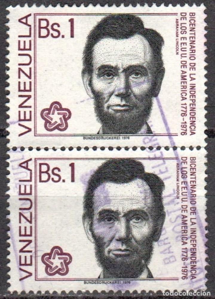 VENEZUELA - DOS SELLOS - IVERT#VN-993 **INDEPENDENCIA EE.UU.*- AÑO 1976 - SIN GOMA MATASELLADO (Sellos - Extranjero - América - Venezuela)
