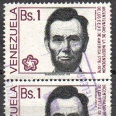 Sellos: VENEZUELA - DOS SELLOS - IVERT#VN-993 **INDEPENDENCIA EE.UU.*- AÑO 1976 - SIN GOMA MATASELLADO. Lote 175526409