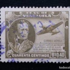 Sellos: CORREOS AEREO VENEZUELA, 0,40 BS ANIVERS, JOSE SUCRE,1939. SIN USAR.. Lote 180195883