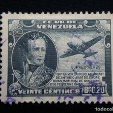 Sellos: CORREOS AEREO VENEZUELA, 2,20 BS, JOSE SUCRE,1945. SIN USAR.. Lote 180196493