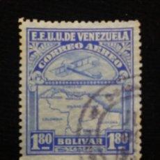 Sellos: CORREOS AEREO VENEZUELA, 1,80 BOLIVALES,1939. SIN USAR.. Lote 180196840