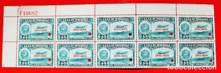 HOJA 10 SELLOS EE. UU.VENEZUELA+DOS MÁRGENES-1939;SCOTT C109,SPECIMEN-45CM-1 TALADRO-CON GOMA-F10682 (Sellos - Extranjero - América - Venezuela)