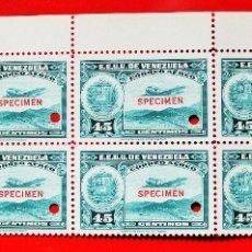 Sellos: HOJA 10 SELLOS EE. UU.VENEZUELA+DOS MÁRGENES-1939;SCOTT C109,SPECIMEN-45CM-1 TALADRO-CON GOMA-F10682. Lote 182400282