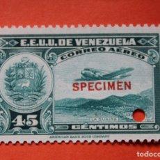 Sellos: TRES SELLOS E.E. U.U. VENEZUELA-1939;SCOTT C109,SPECIMEN-45CMS-UN TALADRO-CON GOMA-PERFECTO. Lote 182401667