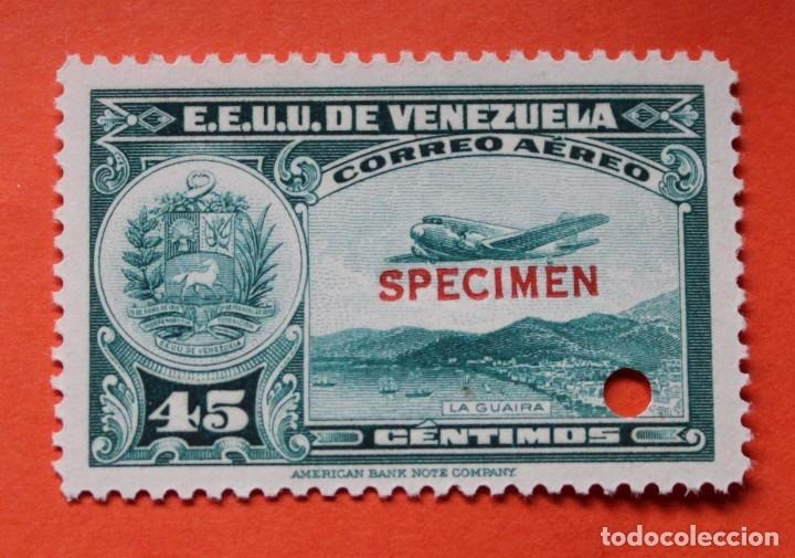 DOS SELLOS E.E. U.U. VENEZUELA-1939;SCOTT C109,SPECIMEN-45CMS-UN TALADRO-CON GOMA-PERFECTO (Sellos - Extranjero - América - Venezuela)