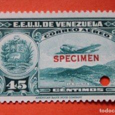 Sellos: DOS SELLOS E.E. U.U. VENEZUELA-1939;SCOTT C109,SPECIMEN-45CMS-UN TALADRO-CON GOMA-PERFECTO . Lote 182402490