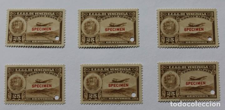 SEIS SELLOS ESTADOS UNIDOS VENEZUELA:1939; SCOTT C109, SPECIMEN-25CMS-TALADRO-GOMA-SEIS SEL-RARÍSIMO (Sellos - Extranjero - América - Venezuela)