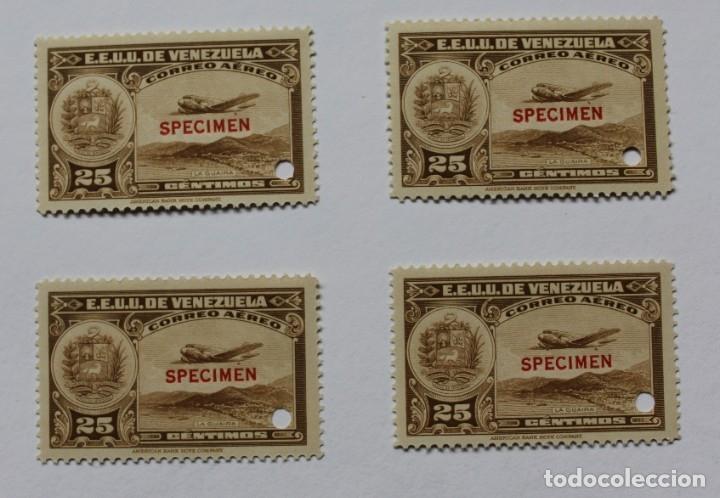 CUATRO SELLOS ESTADOS UNIDOS VENEZUELA:1939;SCOTT C109,SPECIMEN-25CMS-TALADRO-GOMA-SEIS SEL-RARÍSIMO (Sellos - Extranjero - América - Venezuela)