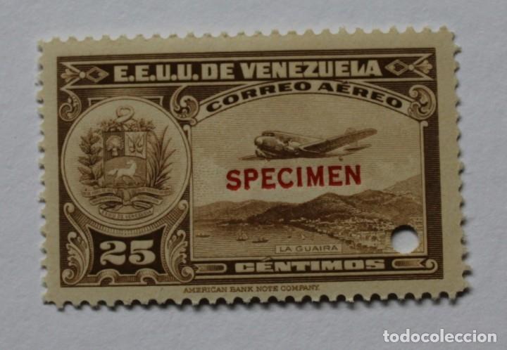 DOS SELLOS ESTADOS UNIDOS VENEZUELA:1939;SCOTT C109,SPECIMEN-25CMS-TALADRO-GOMA-SEIS SEL-RARÍSIMO (Sellos - Extranjero - América - Venezuela)