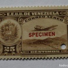 Sellos: DOS SELLOS ESTADOS UNIDOS VENEZUELA:1939;SCOTT C109,SPECIMEN-25CMS-TALADRO-GOMA-SEIS SEL-RARÍSIMO. Lote 182404302
