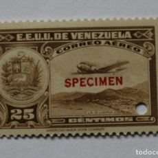 Sellos: UN SELLOS ESTADOS UNIDOS VENEZUELA:1939;SCOTT C109,SPECIMEN-25CMS-TALADRO-GOMA-SEIS SEL-RARÍSIMO. Lote 182404446