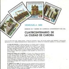 Sellos: HOJA PUBLICIDAD VENEZUELA, 4 VALORES,1969 CUATRICENTENARIO CIUDAD DE CARORA.IMAGEN ANVERSO Y REVERSO. Lote 187642901