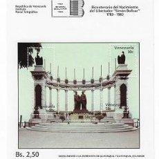 Sellos: VENEZUELA: 1983; HOJITA BLOQUE MONUMENTO EN GUAYAQUIL, NUEVA PERFECTA, V2223A. Lote 193653147