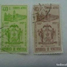Sellos: LOTE DE 2 SELLOS DE LA REPUBLICA DE VENEZUELA : 400º ANIVERSARIO DE TRUJILLOS 1557 - 1957. Lote 201473400