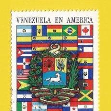 Sellos: VENEZUELA. 1972. ESCUDO VENEZOLANO Y BANDERAS AMERICANAS. Lote 211689931