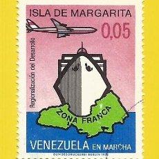 Sellos: VENEZUELA. 1973. ISLA MARGARITA, ZONA FRANCA. BARCO Y AVION. Lote 211691975