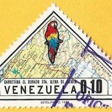 Sellos: VENEZUELA. 1973. MAPA DE CARRETERAS Y GUACAMAYO ROJO. Lote 211692505