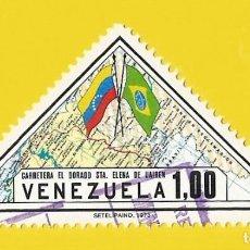 Sellos: VENEZUELA. 1973. MAPA DE CARRETERAS Y BANDERAS. Lote 211692611