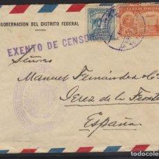 Sellos: VENEZUELA. A JEREZ, CON SELLOS PERFORADOS Y MARCA EXENTO DE CENSURA. Lote 220669741