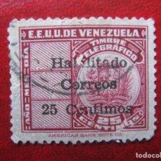 Timbres: VENEZUELA, 1940, SELLO DE TELEGRAFOS YVERT 20 HABILITADO PARA CORREOS. Lote 226619584
