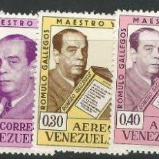 Sellos: VENEZUELA: 1964; NATALICIO DE DON RÓMULO GALLEGOS, TEMA PERSONAJES. Lote 228968480