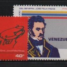 Sellos: VENEZUELA: 1976; 2 ESTAMPILLAS NATALICIO DEL GENERAL JOSÉ FÉLIX RIBAS. Lote 230066160