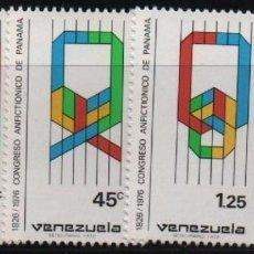 Sellos: VENEZUELA: 1976; CONGRESO ANFICTIÓNICO DE PANAMÁ, 3 ESTAMPILLAS. Lote 230222900